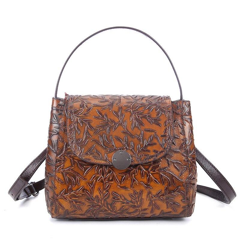 Hot Sale Genuine Leather Women Small Tote Handbag Vintage Embossed Messenger Shoulder Bag Ladies Casual Cowhide Crossbody Bags
