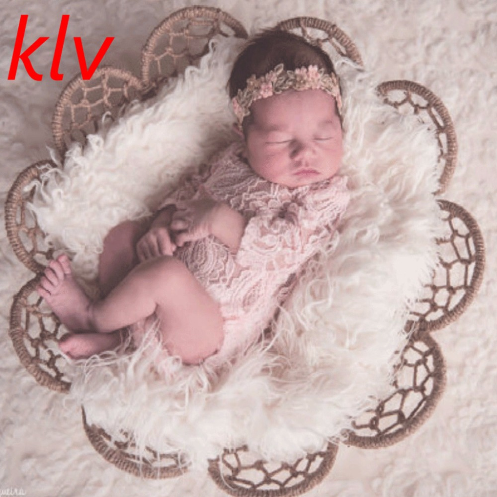 Newborn Baby Girl Long Sleeved Ribbon Lace Romper Baby Photography Props Jumpsuit New Baby Bloomer Baby Jumper