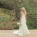 Romantic Long Wedding Dresses Vestido de Noiva Elegant Cap Sleeve V-Back Floor Length Lace Bridal Dress Formal Wedding Gowns