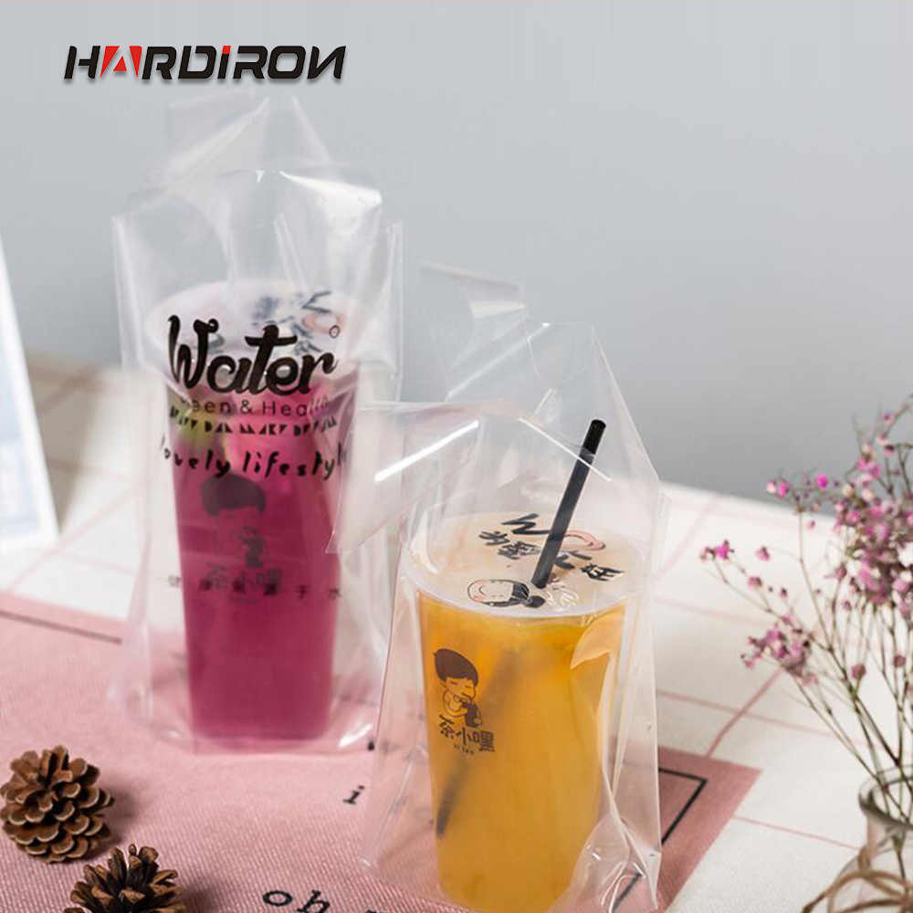 HARDIRON 50PCS Thickened High Pressure Transparent Milk Tea Packing Bag Beverage Single Cup Bag Coffee Juice Tote Sack
