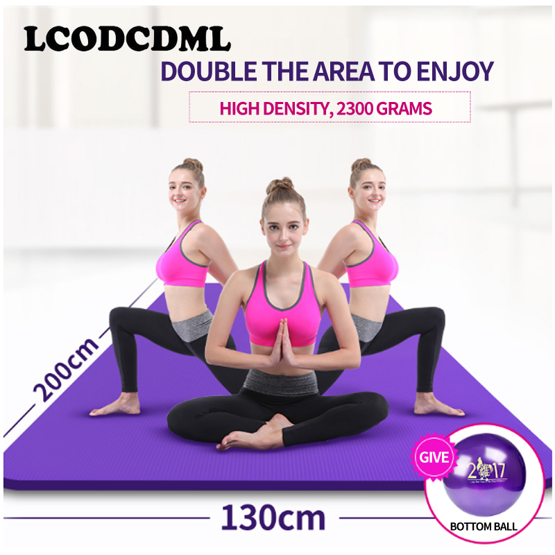 high-quality double yoga mat, broaden 130 thickening, dance mat, sports mat, fitness pad beginner extended Yoga blanket body slimming relax massage new dance pad non slip dancing step dance game mat pad for pc blanket relax tone leisure recreation