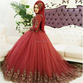 Borgonha Cheio Muçulmano Lace Manga Vestido De Noiva de Tule vestido de Baile com Ouro Lace Vestidos De Novia Robe De MariEe Arábia saudita