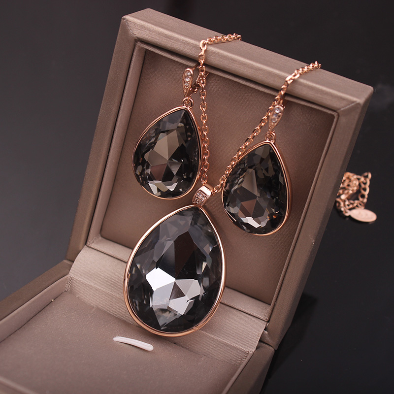 Classic Champagne Grey Crystal Water Drop Jewelry Sets For Women Golden Color Fashion Anniversary