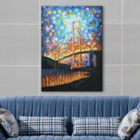 Hand Painted Oil Wall Art Palette Knife Jinmen Steel Cable Bridge Home Decoration Abstract Landscape Oil
