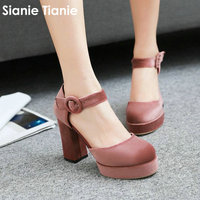 Sianie Tianie velvet velour buckle strap woman summer sandals platform block high heels women pumps shoes sandals big size 46 47