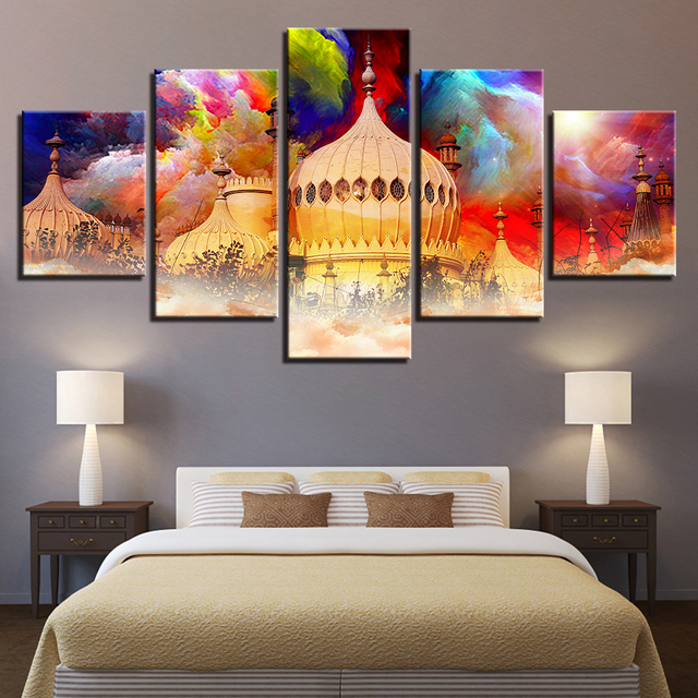 Canvas Paintings Wall Art Hd Prints 5 Pieces Colour Abstract Taj