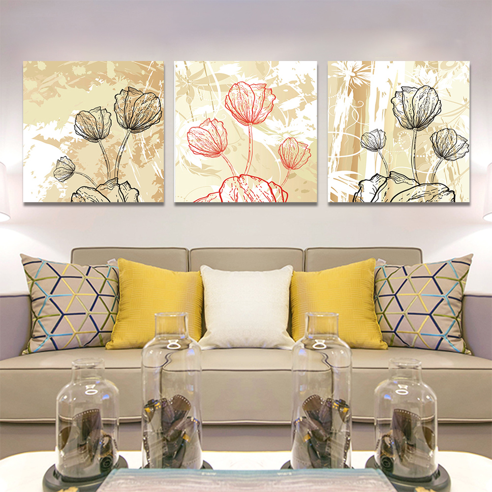 Unframed 3pairs Abstract Canvas Painting Depict Lotus Wall Art Decor Prints Wall Pictures For Living Room Wall Art Decoration