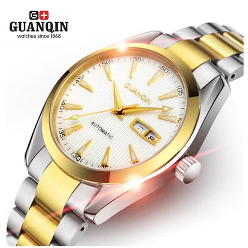 ФОТО Rose Gold Watch GUANQIN Men Watch Mechanical Watches 30 m Waterproof Shockproof Sapphire Dual Calendar Watches Men Relogio