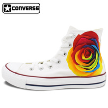 Colourful Flower Roses Converse All Star Original Design Hand Painted Shoes Women Men Sneakers Skateboarding Shoes Wedding Gifts