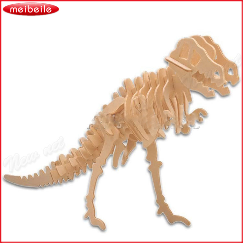 Бесплатная доставка 3D Puzzle динозавр Jigsaw Паззлы Деревянный Дети дошкольного образования Игрушечные лошадки 2017new