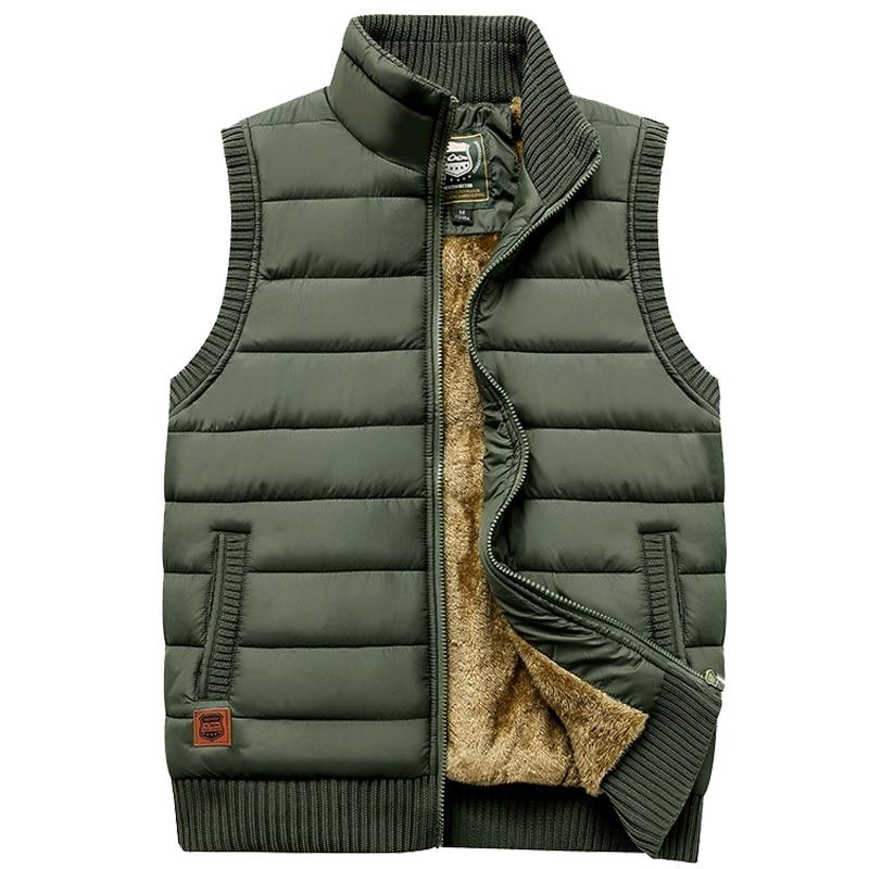 Newest 2019 Autumn Winter Men Coat Warm Sleeveless Jacket Casual Men Vest Coat Fleece Army Green Waistcoat Big Size 5XL