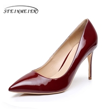 8.5cm High heels  women comfortable elegant heel wine red shoes thin heel point toe patent leather  pumps lady shoes