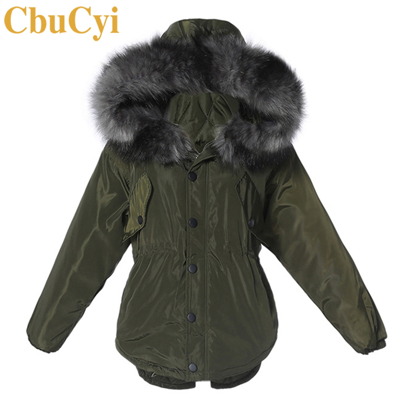 CbuCyi Muti-colors Winter Parkas Women Warm Thick Jacket Coat Big Faux Fur Collar Hooded Padded Jackets Girls Straps Parka Coats