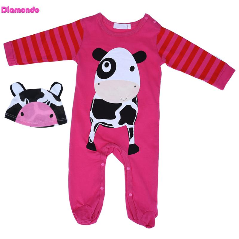 2pcs Baby Romper Clothing Set Spring Toddler Girl Boy Long Sleeve Cartoon Cow Print Romper+Hat Lovely Infant Newborn Outfits