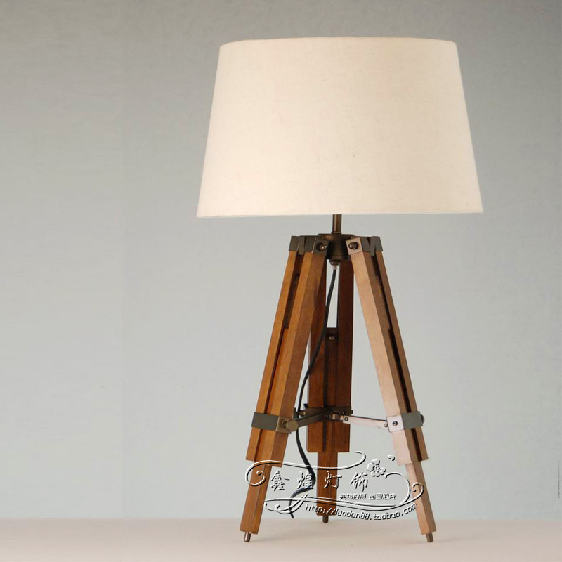 American Country Style Loft Industrial Wood Tripod Table Lamp Desk