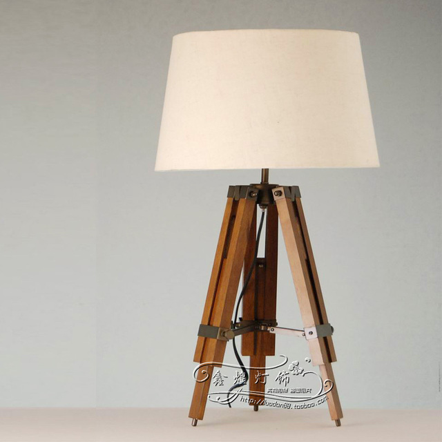 American Country Style Loft Wood Tripod Table Lamp Desk Scalable