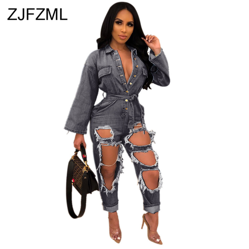 Hollow Ripped Denim Rompers Womens   Jumpsuit   Turn Down Collar Long Sleeve Jeans Overall Casual Buttons Up Sashes Party Bodysuit