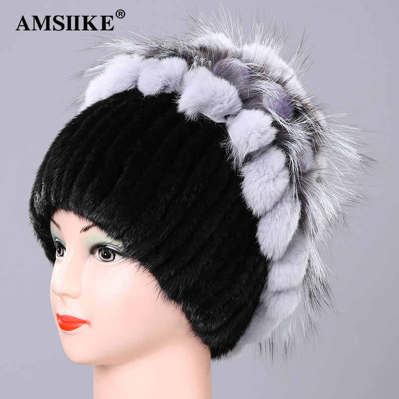 Amsike 2019 mujeres gorra de piel de visón sombrero de piel de zorro con piel de conejo Rex decoración flores diseño tejido lana forro femenino sombrero DM2170