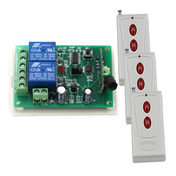 Fixed Code 12V 2CH Transmitte Receiver RF Gate Garage Door Wireless Remote Control Switch 315 MHZ SKU: 5092