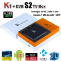Android TV Box + DVB-S2 Receptor de Satélite KI Media Player Amlogic S805 Quad Core 1G 8G KII Pro CCCam Inteligente Mini PC 3D Wifi