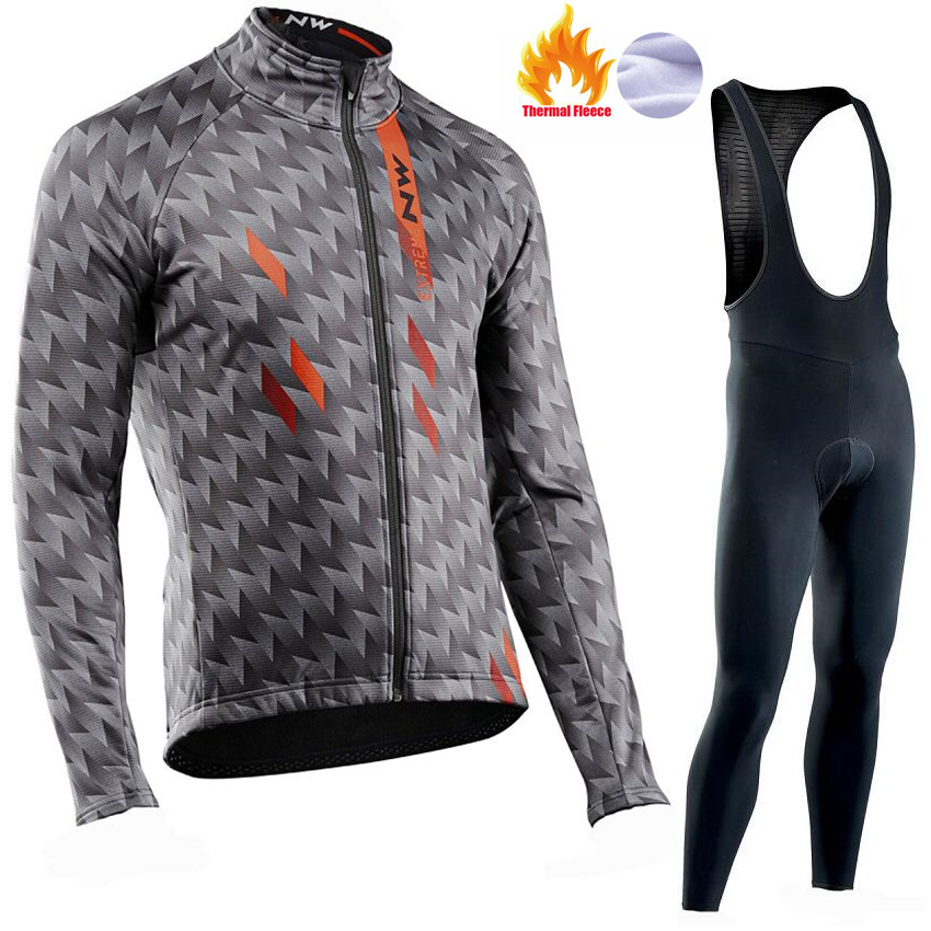 2018 Pro NW Men Long Sleeve Cycling Clothing Ropa Ciclismo Invierno Hombre Winter Thermal Fleece Cycling Jersey Bib Pants Set цена
