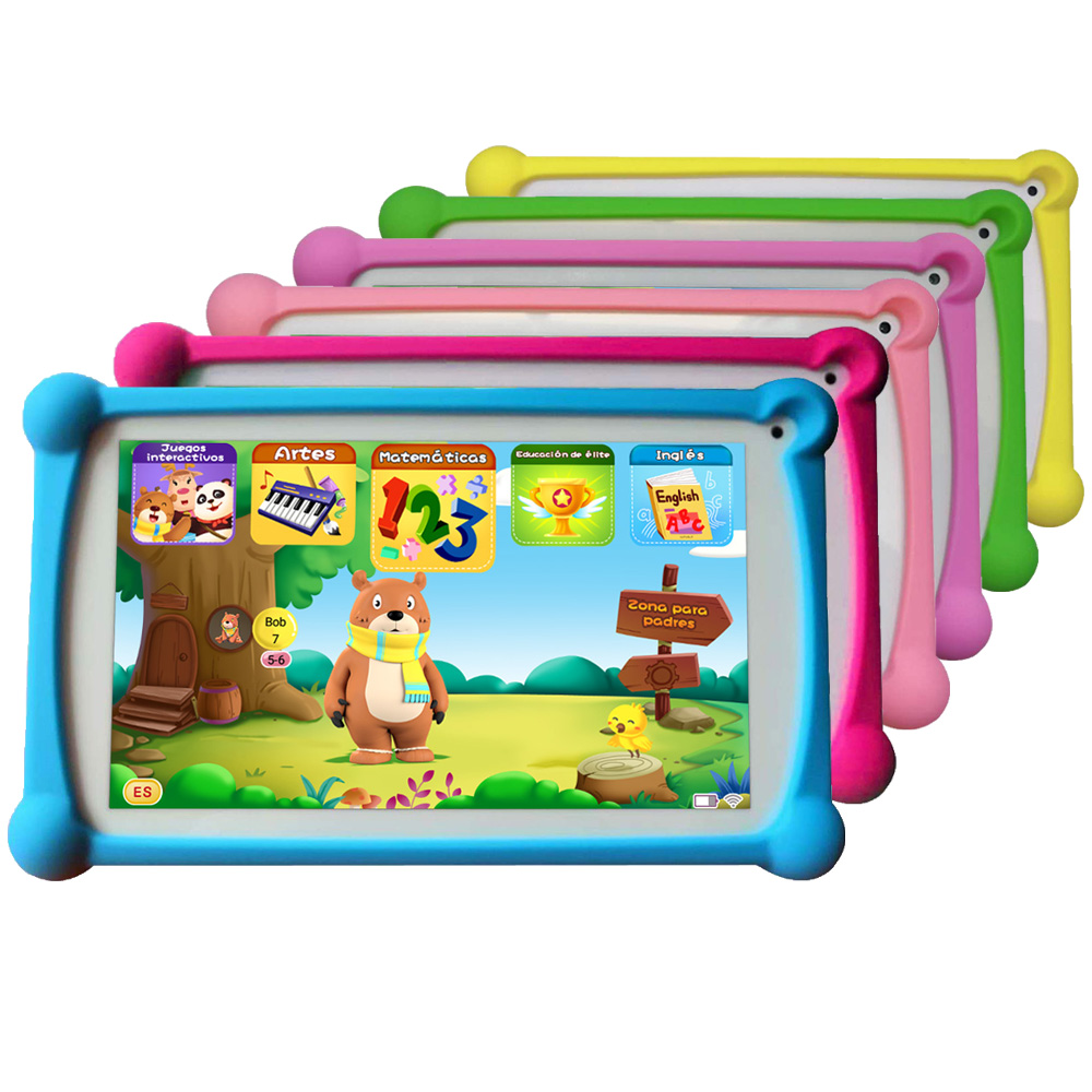 Newest B.B.PAW Kids Tablet 7 Inch In Spanish And English With 120+ Learning And Training Apps For Children 2-6 Years Old
