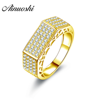 AINUOSHI Flat Top Gold Band 14K Solid Yellow Gold Sona Diamond Rows Drill Cluster Ring Wedding Engagement Jewelry Unisex Ring