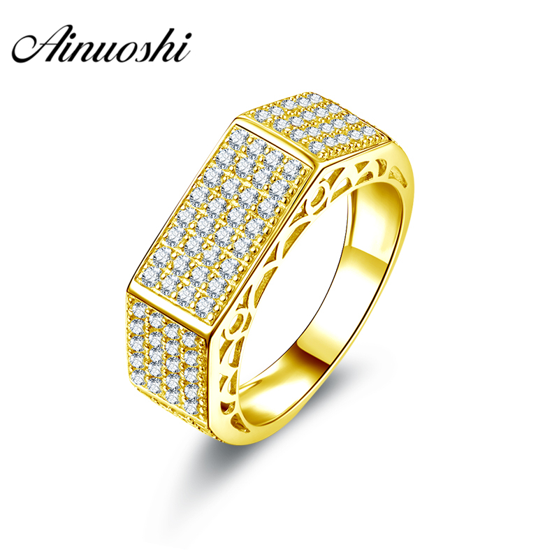 AINUOSHI Luxurious Male Band 10K Solid Yellow Gold Ring 4 Rows Drill Cluster Ring Wedding Engagement Gold Jewelry 5.5g Men Ring цена и фото