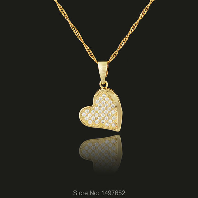 Luxury Heart Necklace Jewelry Wholesale Gold Color Romantic Rhinestone  Heart Pendant For Women Best Gift c410b62ed75c