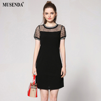 MUSENDA Plus Size Women Black Mesh Beading Slim Dress 2018 Summer Sundress Female Casual Dresses Vestido