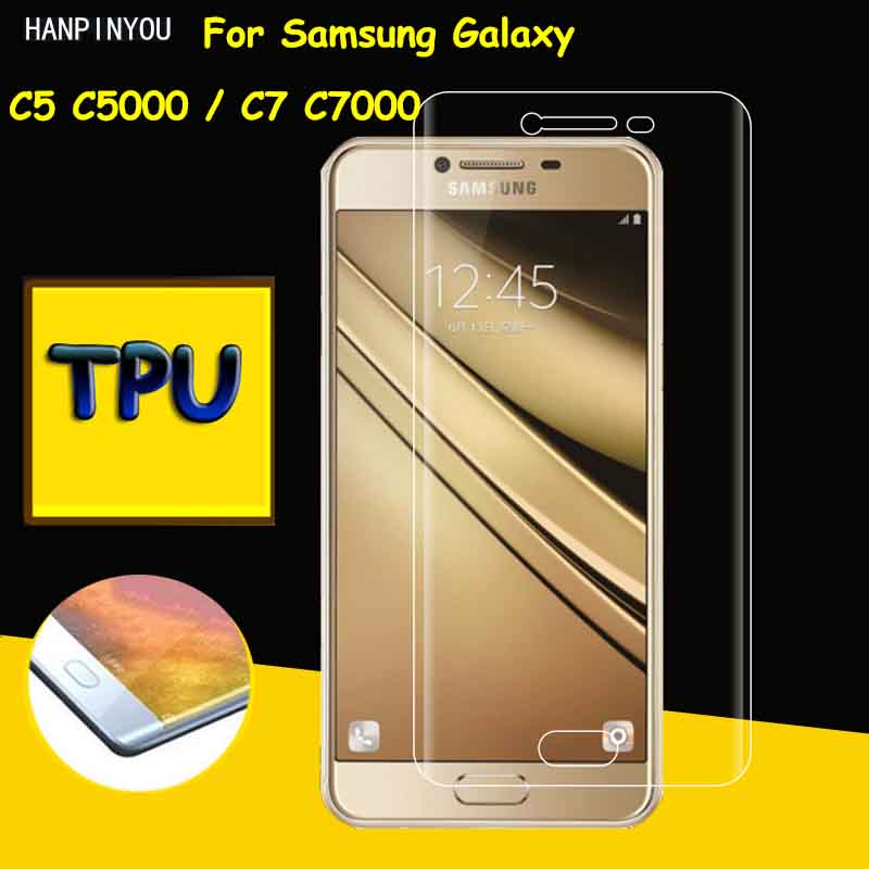 Full Coverage Clear Soft TPU Film Screen Protector For Samsung Galaxy C5 C5000 C7 C7000, Cover Curved Parts (Not Tempered Glass)