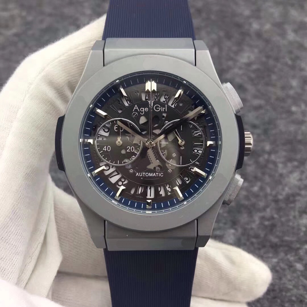 Luxury Brand New Men StopWatch Chronograph Silver Titanium Stainless Steel Black Leather Blue Rubber Unico Date Watches Skeleton