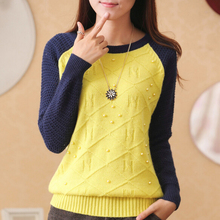 2016 Women Sweaters and Pullovers Long Sleeve Fashion Bead Long Sleeve Knitted Sweater Womens