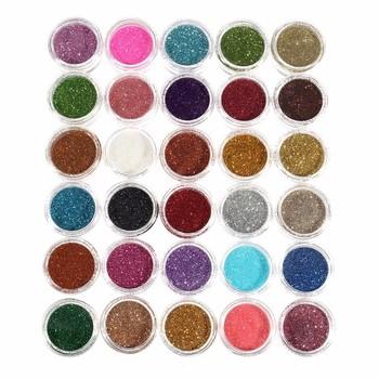 2019 nowy 30 sztuk brokat Eyeshadow Eye Makeup Shimmer pigment w proszku paznokci kosmetyczne Glitters mieszane kolory tanie i dobre opinie App 186g Eyeshadow Glitter 30pcs set luckyfine