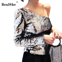 RealShe Sexy Asymmetrical Oblique Neck Sequins T Shirt New Women Single Shoulder Tops Long Sleeve T