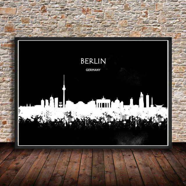 Modern watercolor painting abstract city painting berlin germany print poster wall sticker living room cafe bar