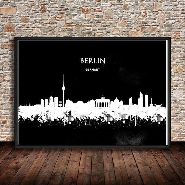 Moderne Aquarell Malerei Abstrakte Stadt BERLIN Deutschland Print Poster Wandaufkleber Wohnzimmer Cafe Bar Wohnkultur Pub
