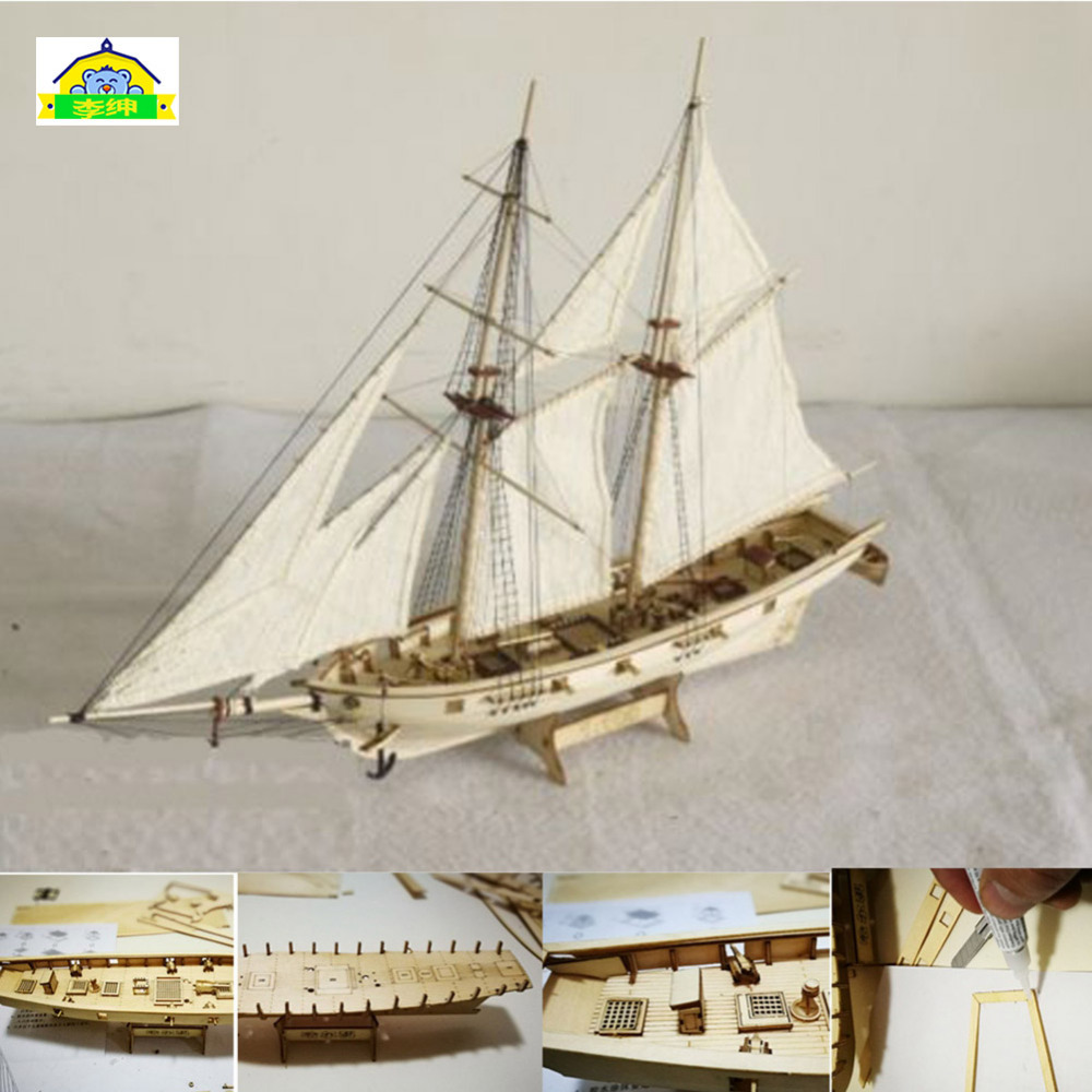 Classics Antique Battleship Wooden Model Kits Model Of 1840 Harco Wooden Assembly Sailing Vessel DIY Classical Sailing Model