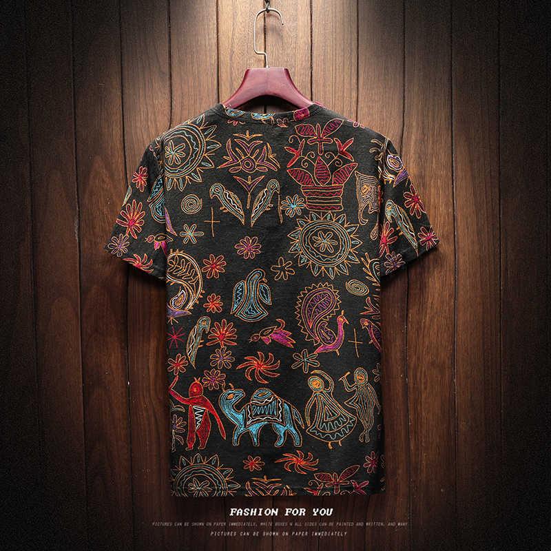 Магазин Sinicism 2018 мужская хлопковая льняная футболка с коротким рукавом летняя тонкая ткань Китайская традиционная одежда Мужская Ретро футболка 8801