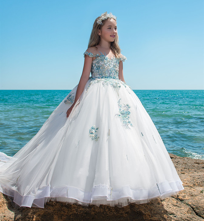 Luxury   Girls     Dresses   Crystals Beading Applique Lace Ball Gown   Flower     Girl     Dress   for Wedding Kids Birthday   Dress   Custom Made