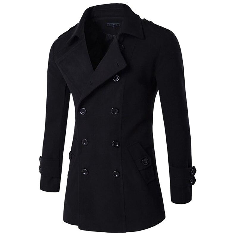 Coat Men Double-Breasted-Suit Long-Sleeve Korean Men's New Slim Winter Collar Solid Linen