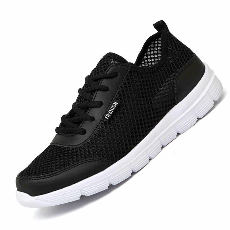 2018 حذاء رجالي الصيف رياضية حذاء كاجوال بفتحات تهوية زوجين عاشق أزياء من الدانتل يصل رجل شبكة الشقق حذاء كبير زائد حجم