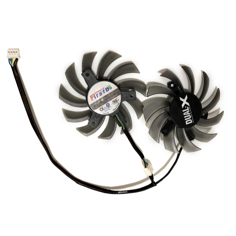 2pcs/lot 4Pin 75mm gpu cooler video graphics Card Fan For asus gtx650TI/GTX660/670 MSI R6790 Twin Frozr II as replacement free shipping t129025su 12v 0 38a 4pin for asus hd7970 hd7950 gtx680 directcu ii graphics card fan
