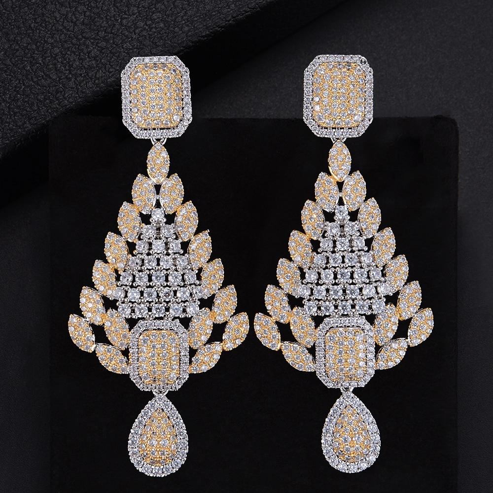 66mm Trendy Geometric Drop Hollow Three Colors Full CZ  Drop Dangle Earrings For Girls Women Party