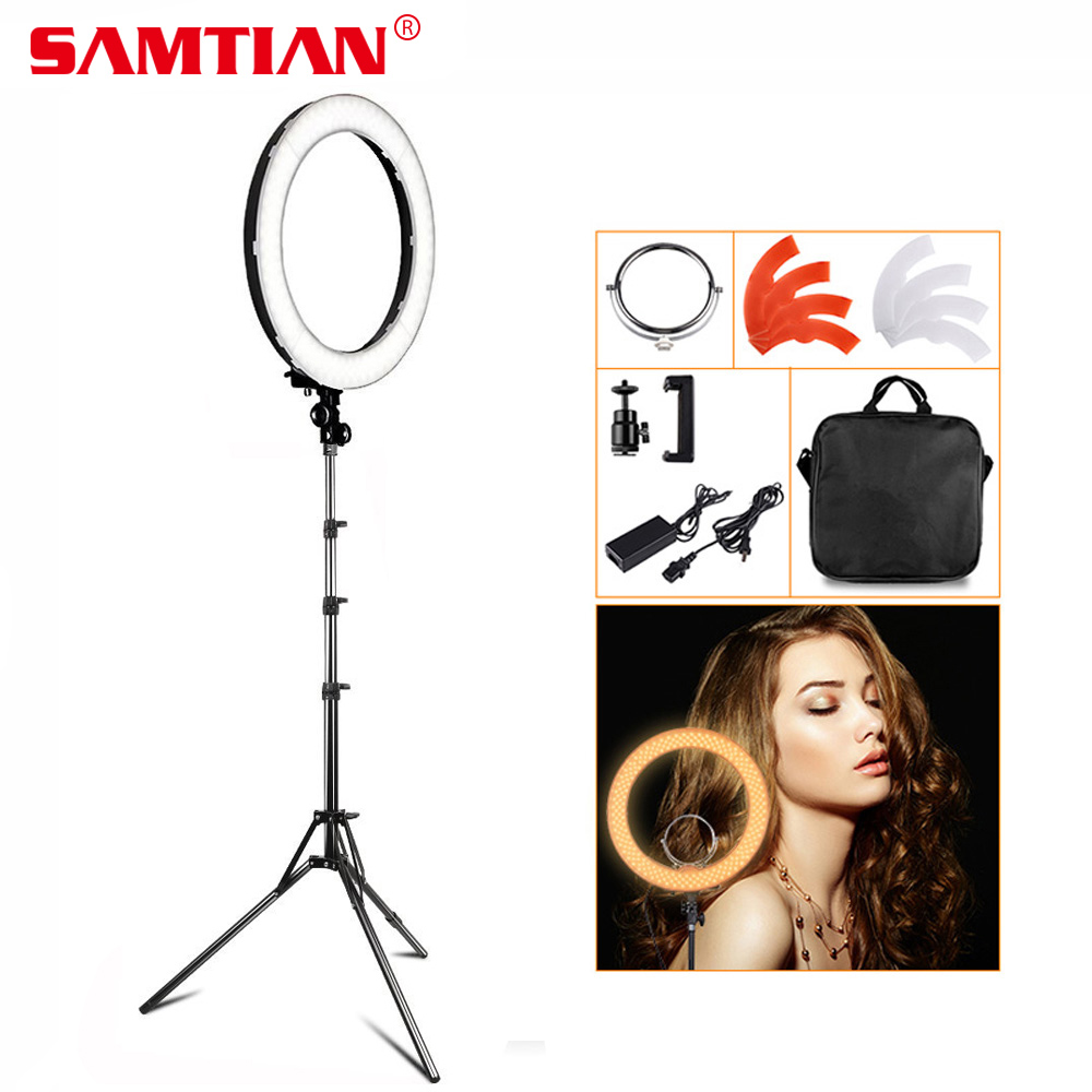 SAMTIAN 18 LED Ring Light Dimmable 3200K 5500K Annular Make up Lamp &Tripod For Studio Photo Photography YouTube Lighting