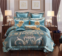 IvaRose Luxury jacquard 4/6/9pcs Queen King silk Cotton Bedding Set duvet cover bedspread pillowcase bed linen