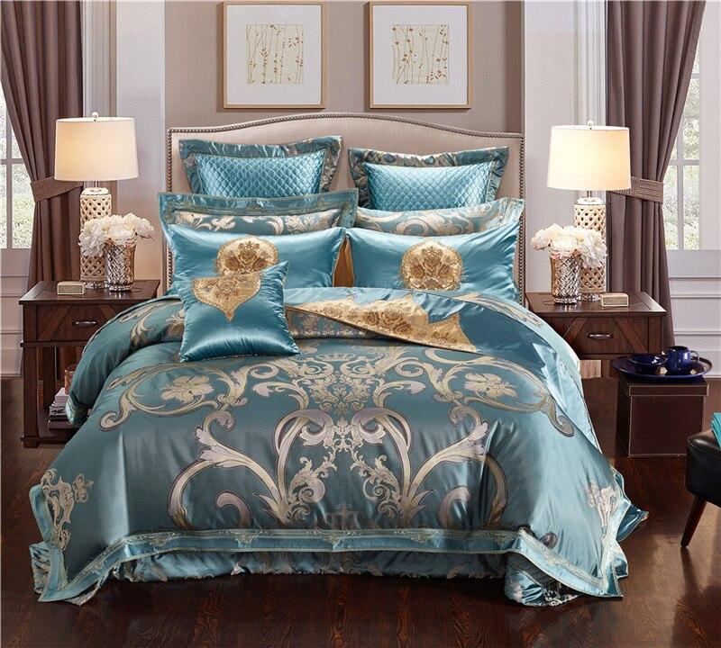 IvaRose luxe jacquard 4/6/9 pièces reine roi soie coton ensemble de literie housse de couette couvre-lit taie d'oreiller linge de lit