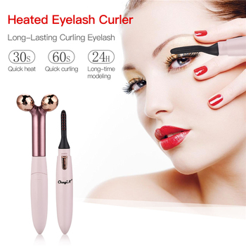 2 in 1 3D Facial Lift Roller V-line Face Shaping Slimming Massage Tool Double-Layered Heater Electric Eyelash Curler P46 1