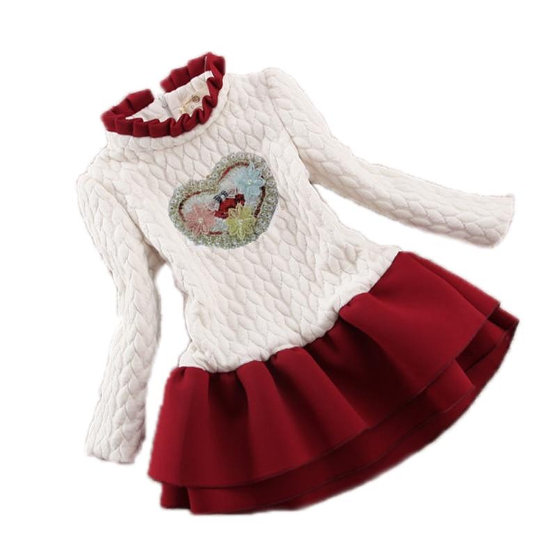 Kids New Designer Girl Sweater Clothing Dress Winter Thicken Warm Sweater Children Girls Princess TuTu Dresses Party Girls