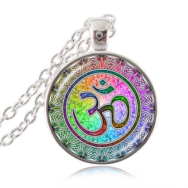 Om Aum Buddha Necklace Namaste Pendant Yoga Jewelry Hinduism Symbol Pendant Meditation Hindu Sweater Necklace for Women